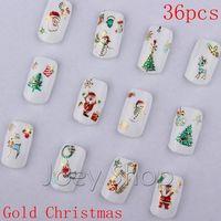 36pcs Gold Metallic Nail Art Sticker 3D Christmas Decorations
