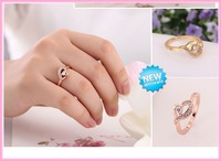 2014 New Arrive Korean Retro Feel Sweet Peach Heart Ring Engagement Ring Free Shipping