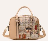 New 2014 Women Castles Graffiti Priting Leather Handbag Lady Large Trunk Bag Fashion Wild Casual Preppy One Shoulder Bag 411e