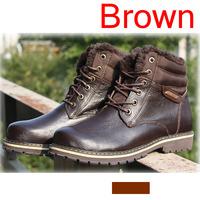 New big size winter boots man snow boot men warm work boots lace-up man's casual shoes driver flats fur velvet martin cowboy 496