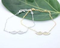 Wholesale 10pcs/lot-2015 Women Men Jewelry Vintage Cool Gift Idea Charm Angle Wings Punk Chain Bracelet in Gold/Silver