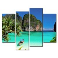 3 Piece Blue Wall Art Painting Ko Tao Thailand Small Bay Light Green Sea Water Mountain Print On Canvas The Picture Seascape