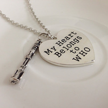 2014new hot doctor who my heart belong to who heart with Sonic Screwdrive Pendant Necklace  Jewelry Gift film