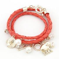 New Style Elephant Pearl Coin Pendant Charm Bracelet Multilayer Woven Fashion Women Leather Bracelet FB0265