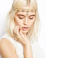Fashion Crystal Flower Headband For Women Gold Plated Crystal Flower Pendant Head Chain Forehead Headband Lady Gift