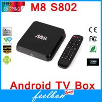 Original M8 Amlogic S802 Android TV Box M8N Quad Core 2G/8G Mali450 XBMC GPU 4K HDMI 2.4G/5G Dual WiFi Pre-installed APK ADD ONS