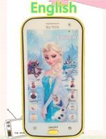 English language Frozen princess educational mobile phone toy, intelligent dolls electronic pets learning machine for child kids