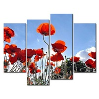 3 Piece Wall Art Painting Orange Poppies Picture Print On Canvas Flower 4 5 The Picture Decor Oil For Home Decoration Prints