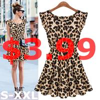 New 2015 Hot Sale Sexy Leopard Women Dress Casual Sleeveless Ruffles Vestidos Dresses Femininos Women Clothing Girl Sundress