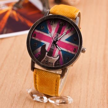 Мода элементы свободного покроя часы мужчины женщины кварцевые часы с флаг partten электронные 2014 новый стиль винтаж наручные часы часы часы