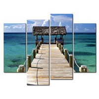 3 Piece Blue Wall Art Painting New Providence Island Beautiful Cloud Bridge House Print On Canvas The Picture Seascape