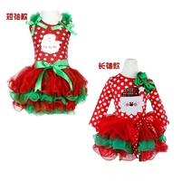 New 2014 Baby Girl Christmas Dress Girl's Short Sleeve Merry Christmas Dress Kids Cotton Dot  Dress Girls Tutu Dress XXHG -D1