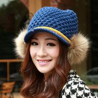 New Arrival 2014 Korean Women Thick and Warm Wool Knit Rabbit Fur Ball Bomber Ear Crochet Visor Hats Caps ( 7 Colors)