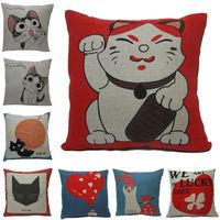 New pillow Cover Lumbar Waist Chair Square Pillow Case Hemp Cotton Pillowcase 45*45cm Sale