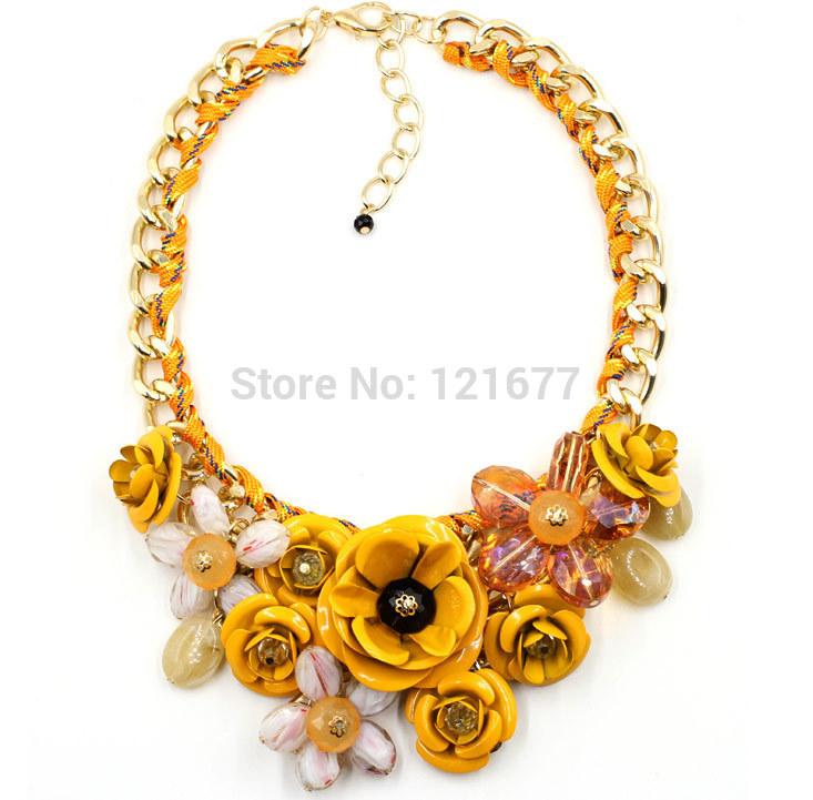 Hot Sale Big Pendants Transparent Resin Crystal Red Blue Green Pink Flower Vintage Choker Statement Necklace