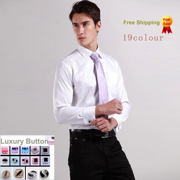 Luxury French cuff Button MENS Dress Shirt 2015 New Fashion Non Iron Long Sleeve slim striped High Quality Business formal Shirt(China (Mainland))