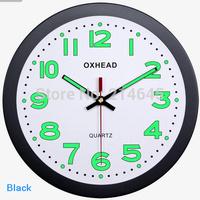 M45 super Luminova wall clock time 12inch circular plastic quartz needle quiet movements traditional brief clocks