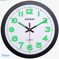 M45 super luminous wall clock with 12inch size made of plastic and quartz quiet movements