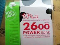 1000sets External milk Portable Battery powerbank 2600mAh USB External Backup Battery Power Bank with retail package