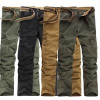 Men Cargo Pants Casual Multi Pockets Work Job Trousers Combat ArmyTrousers Hiking Travel Brown Jeans Black Brown Khaki