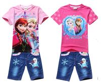 Frozen Queen 2014 Children clothing sets new kid suit girls jeans suits boy T-shirts Short Sleeve+pants Set