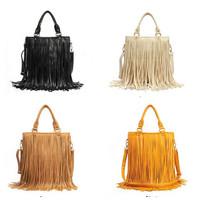 New Design 2014 Fashion Special Desigual Women PU Handbags Tassel Decorated Large Capacity Shoulder Bags Classic Black Brown