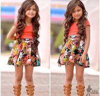 2015 New arrival Retail Clothing set girls rose suits autumn children suit kids t shirt + skirt 2 pieces sets Leopard free ship