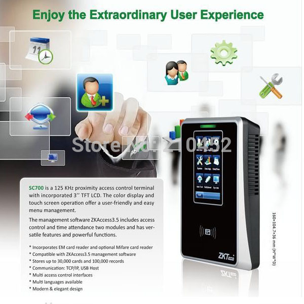 SC700 3.5 inch touch screen smart card reader RFID reader access control and time attendance(China (Mainland))