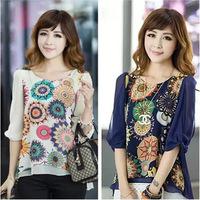2014 New Spring Summer Chiffon Blouse Women Fashion Casual Shirt Tops Loose Pleats Retro Print Blouse Plus Size Q250