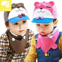 2014 New lemonkid Autumn winter Children Cap Cotton Cartoon Squinting Bear Baby hat + Scarf 2 piece sets 24051#