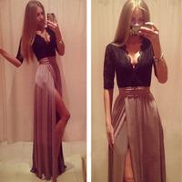 2014 Sexy Women Long Party Dress Patchwork Furcal Dress Lace Elegant Prom Dress vestido de festa longo Free Shipping WQ0376