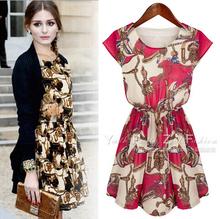 2014 Plus Size roupas femininas Lace Chiffon vestido estampado Casual Vestidos das mulheres Plus Size vestido Vestidos de moda verão(China (Mainland))