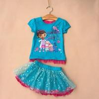 2014 New Arrival Kids DOC Mcstuffins Suit Baby Girls short Sleeve tshirt+skirt 2 Pieces Outfit Children's Clothing Set DA508
