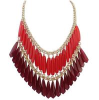 Bohemia Ethnic Gold Drop Tassel Collar Big Chunky Chain Statement Necklace & Pendants 2014 Fashion Jewelry Women Wholesale N45