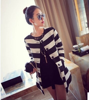 Jakets Women Free Shipping Top Fashion Slim Cotton 2014 Early Fall The New Europe Show Crude And Stripe Long Sleeve Coat Female