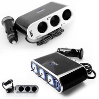 3 Way Triple Car Cigarette Lighter Socket Splitter 12V/24V Charger Power Adapter +USB+LED Light Control Safe Energy Saving