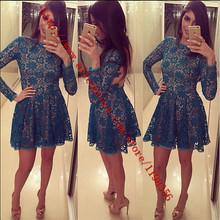 Women flower lace backless dress long sleeve mini vestidos brand original dress(China (Mainland))