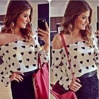 Hot Sale Women Blouses 2014 European and American Autumn Fashional Heart Pattern Print Chiffon Patchwork Round Collar Blouse 953