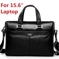 "100% Guarantee Natural Cow Leather Brand men handbags men's shoulder messenger bags 15.6"" Laptop Bag Genuine Leather Briefcase"