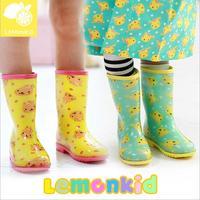 2014 New lemonkid Children Transparent flat with Fruit color cartoon rain boot 24506#