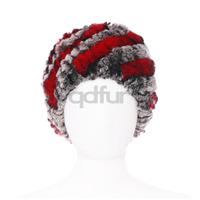 New Stylish Ladies' Genuine Knitted Rex Rabbit Fur Hats Caps Winter Women Fur Beanies Female Headgear 30454