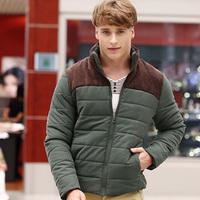 Autumn & Winter Men Warm Parkas Large Size M-3XL Corduroy Patchwork Design Stand Collar Men Outdoor Fashion Down Jackets