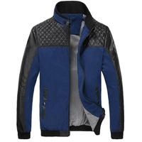 Autumn & Spring Men Fashion Slim Jackets Plus Size L-3XL Leather Patchwork Style Man Casual Brand Coats Black / Blue Outerwear
