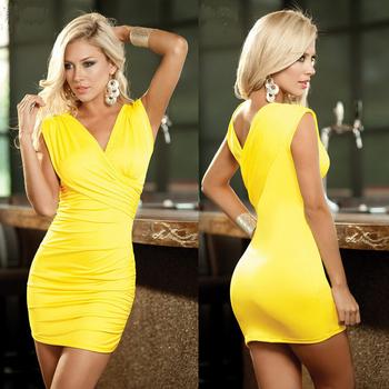 2015 горячей продажи женщин лучший желтый черный 2 цвета тонкий платье ночной клуб сексуальное миниое платье взрослых одежда YDN071