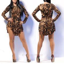 2014 Women's Long Sleeve Dress Club Mini Dress S M L XL XXL  Sexy Fashion Leopard Dresses Round Neck 60C J*E3219#M5(China (Mainland))