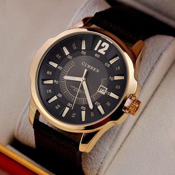 2015 горячая распродажа свободного покроя Curren 8123 мода часы кожаный ремешок мужские часы люксовый бренд спортивные кварцевые наручные часы мужчин подарок
