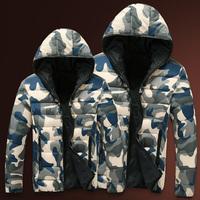 Camouflage Pattern Men Fashion Parkas Size S-2XL Korean Unisex Casual Hooded Outerwear 2014 Add Wool Lady Warm Down Jackets