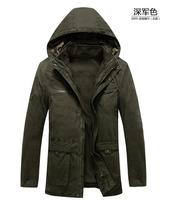 Fashion men's outdoor plus size winter cotton parka jacket men famous brand warm hooded long casual thick parka with 2pcs