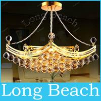 6 Bulbs Modern Luxury Fixture K9 Crystal Hanging Wire Ball Pendant Light Ceiling Living Room Chandelier LED Lamp Lighting 635MM