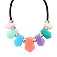 The new 18K gold necklace woman selling sweet fashion leather cord Shield beaded necklace 106107